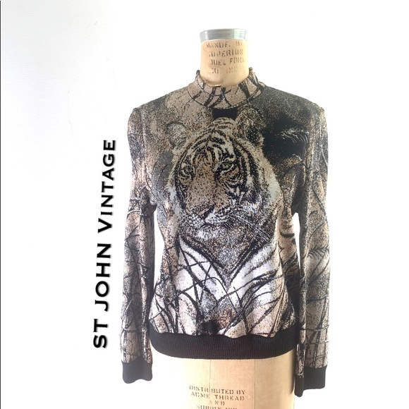 Tiger Sweater, vintage jacquard St John w/crystals